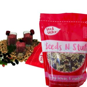 Seed Sister Seends n Stuff 500gm serving suggestion 1. Raspberry Pomegranate Seed Sister Pudding.