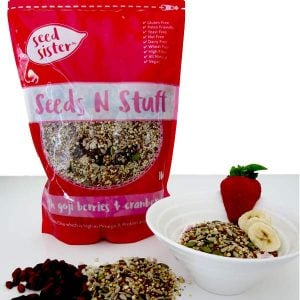 Seeds n Stuff 1kg serving suggestion 1. Healthy breakfast or snack with fresh fruit and Seed Sister fruit and seeds mix.